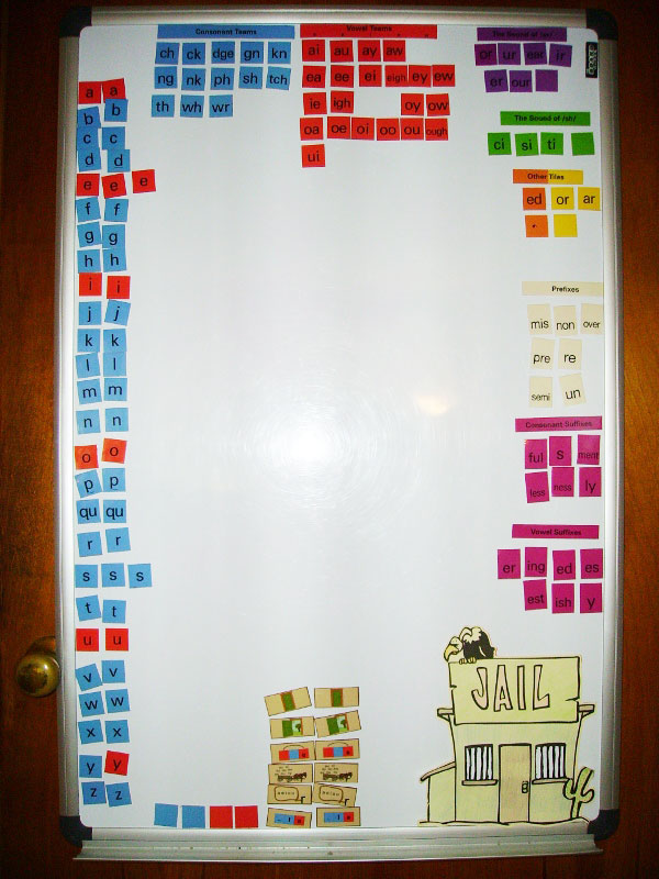 Whiteboard with letter tiles from All About Spelling