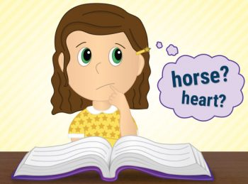 child guessing at a word while reading