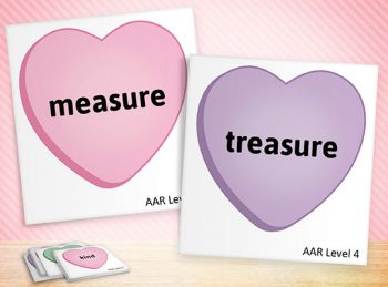pink and purple rhyming heart cards