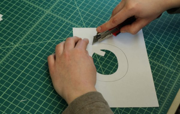 Cutting out letter template