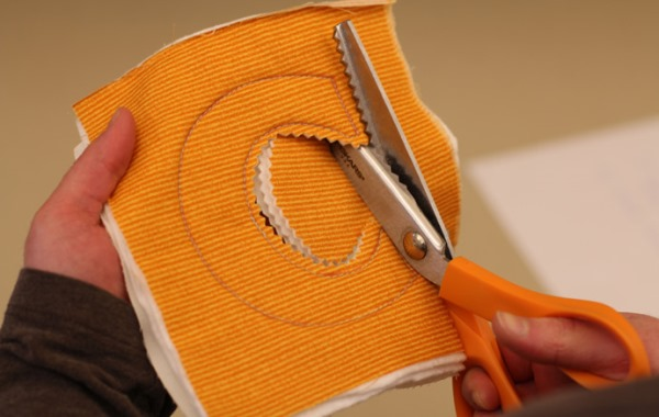 Cutting out fabric letter