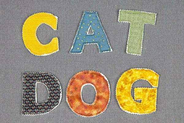 Words spelled out with fabric alphabet