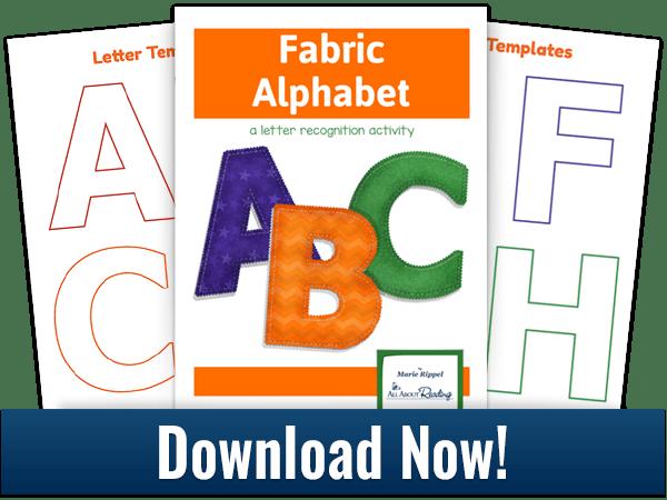 Fabric Alphabet activity download 3-page spread