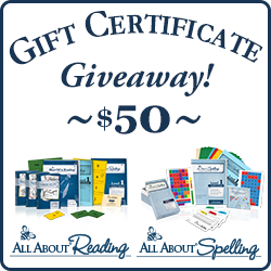$50 Gift Certificate Giveaway - All About Reading and All About Spelling