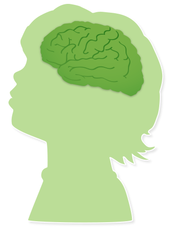 child silhouette with brain