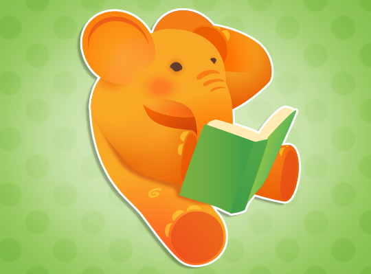 elephant reading and scratching his head.
