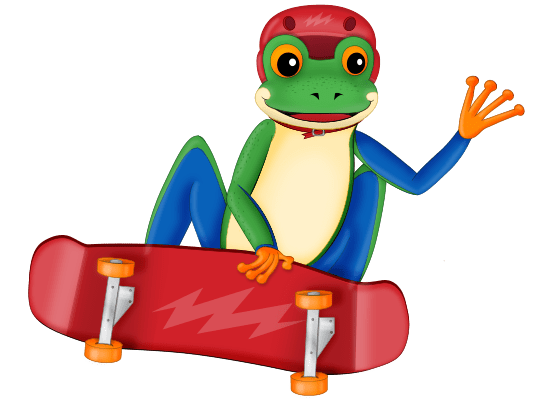 make reading and spelling stick frog on a skateboard