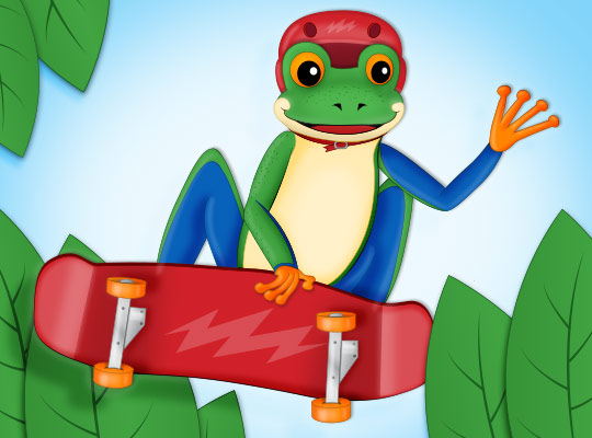 tree frog on a skate board