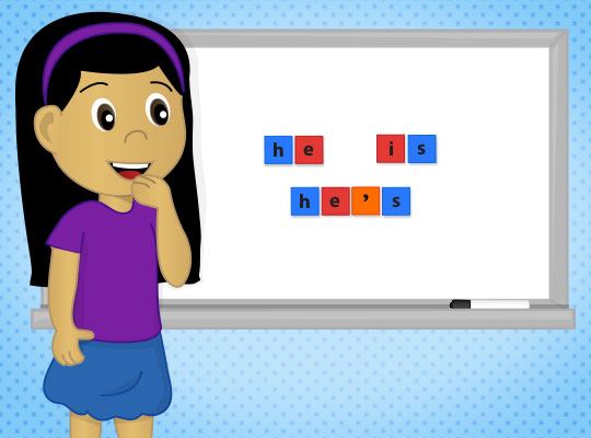Cartoon girl making contractions on a whiteboard