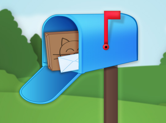 blue mailbox with box and letter