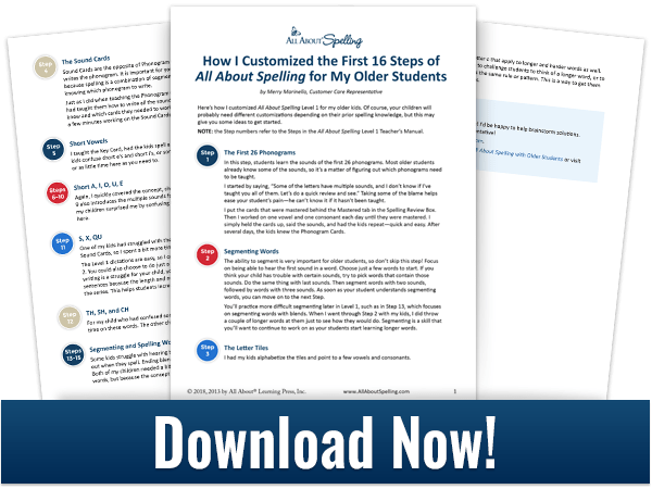 download customizing for older students