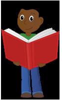 Cartoon child holding oversized book