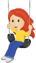 Young cartoon girl on swing