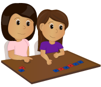 Cartoon mother helping daughter spell words with letter tiles