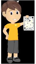 Happy cartoon boy holding progress chart