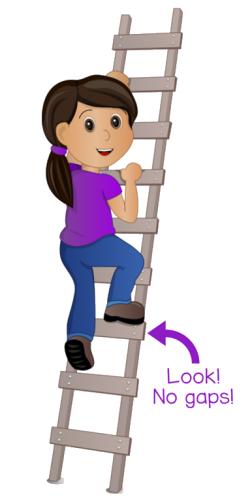 Cartoon girl climbing ladder with no gaps