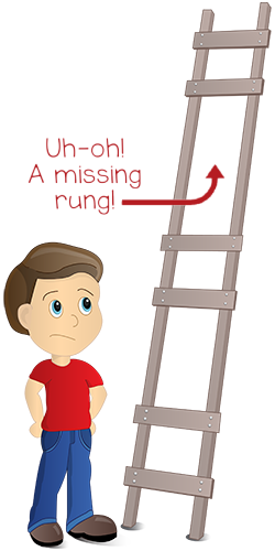 Confused cartoon boy looking at ladder with missing rungs