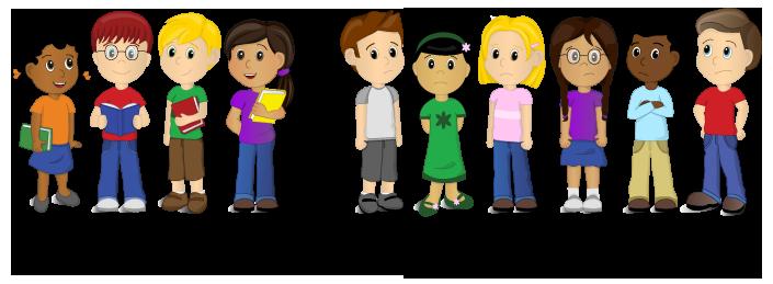 Cartoon lineup showing 6 of 10 kids below proficient reading level