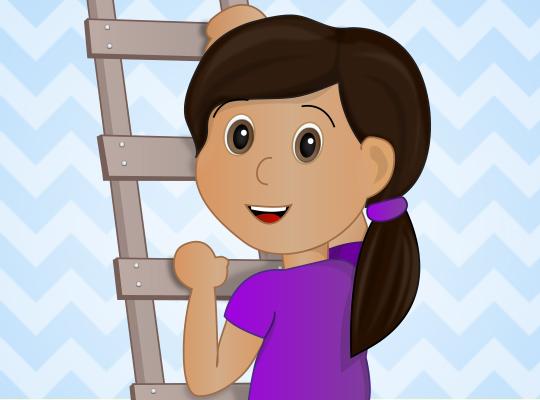 Closeup of cartoon girl climbing ladder