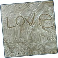 Word written in soap suds on sidewalk