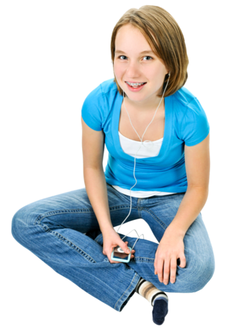 Girl listening to audio books from Learning Ally
