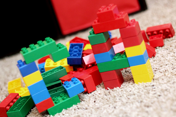 Letters built with building blocks