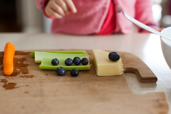 Snack ingredients on cutting board