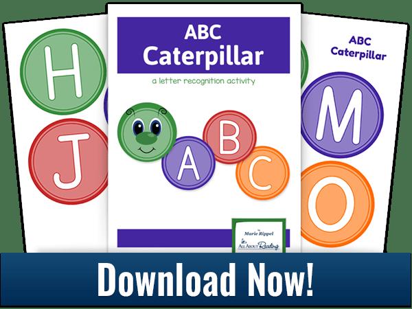 ABC Caterpillar activity download three-page spread