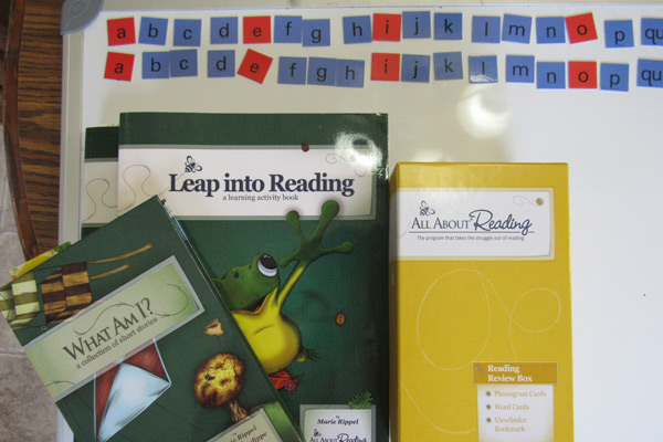All About Reading curriculum on whiteboard