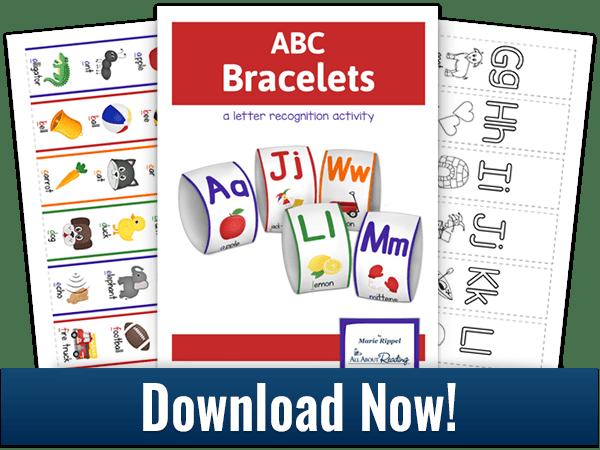 ABC Bracelets activity download 3-page spread