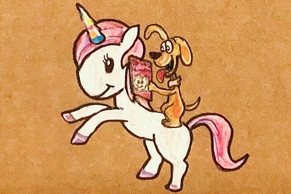 a unicorn and a reading dog box art drawing