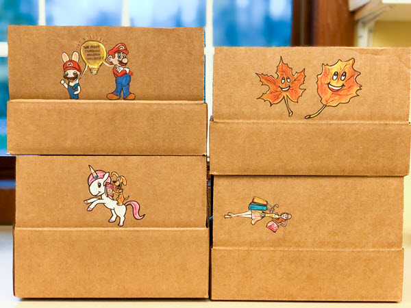 shipping boxes with box art on them
