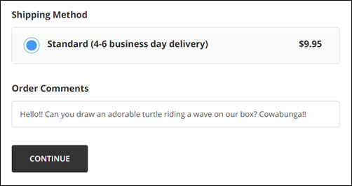 order comments box