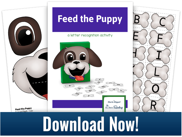 Feed the Puppy Alphabet Game download 3-page spread