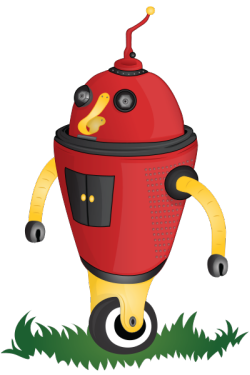 red robot standing in grass