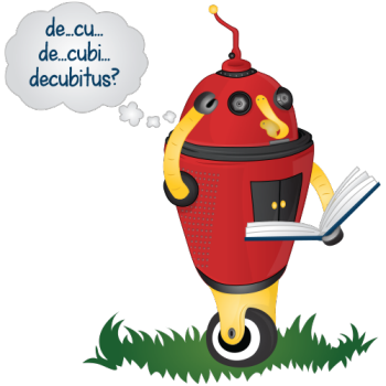 red robot trying to sound out a word