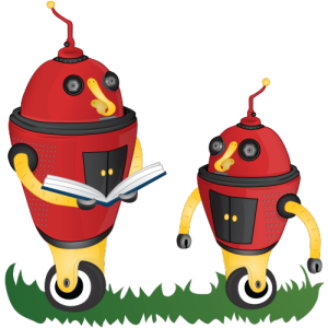 red robot mother and child reading together