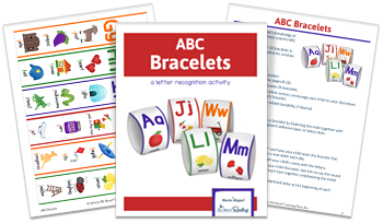 3-page spread of ABC Bracelets activity download