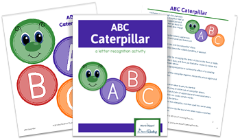 3-page spread of ABC Caterpillar activity download