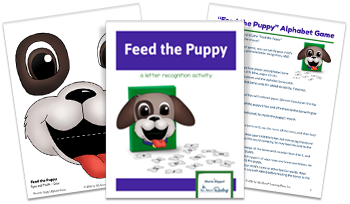 3-page spread of Feed the Puppy Alphabet Game download