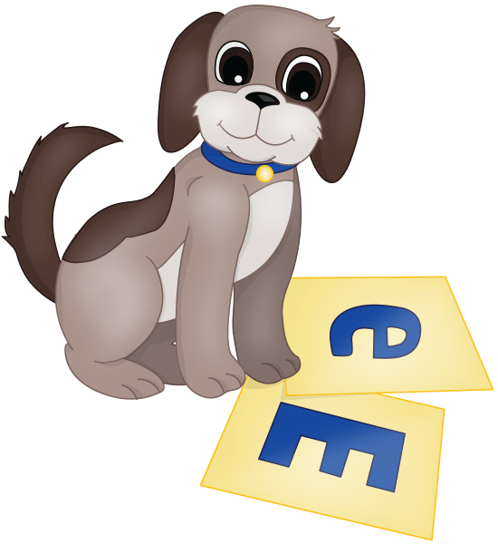 Puppy looking at letters E
