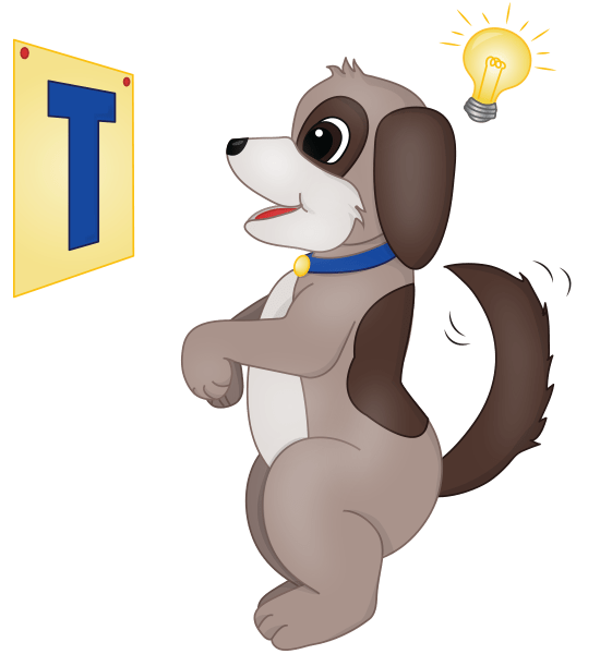Dog looking at the letter T