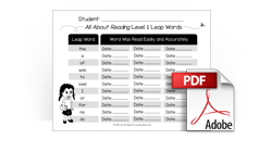 Sight Word 'Leap Word' Assessment Download