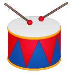 A red and blue drum