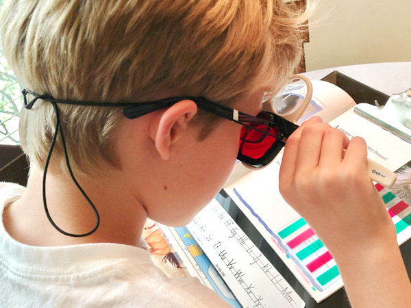Child using vision therapy for his vision problems