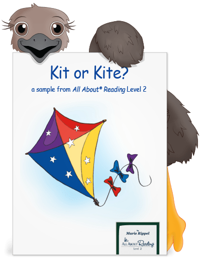 Cute emu holding a preview of Kit or Kite
