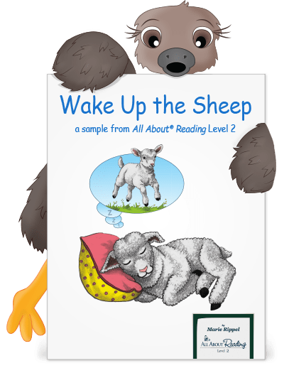 Cute emu holding a preview of Wake Up the Sheep