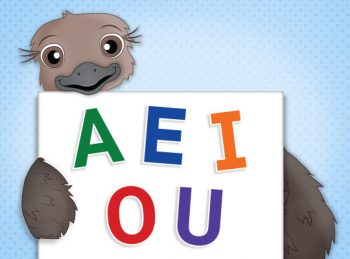 Ostrich holding a sign with long vowel sounds