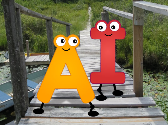 Vowels A and I walking on a bridge