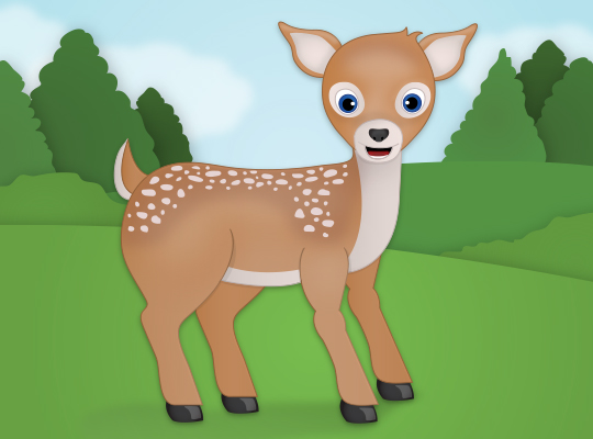 a small deer with big eyes in a field